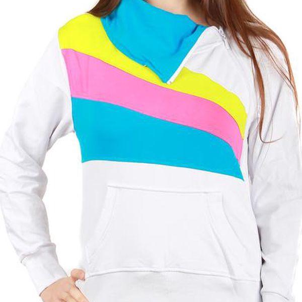 TopMode Příjemná barevná sportovní mikina bílá