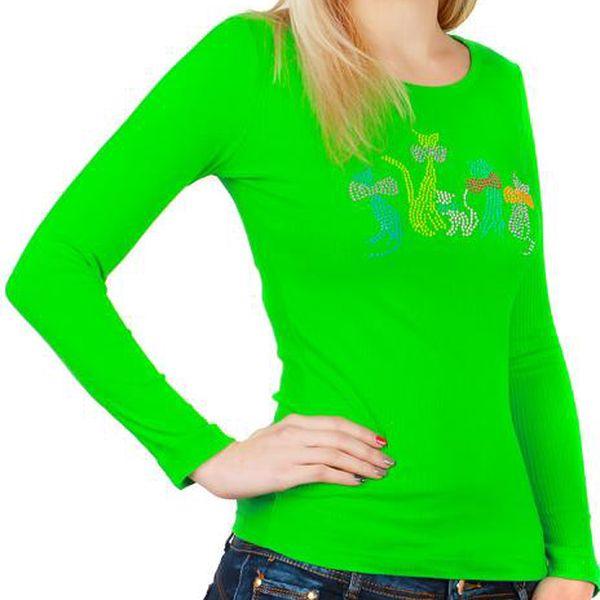 TopMode Tričko s kamínkovým potiskem zelená