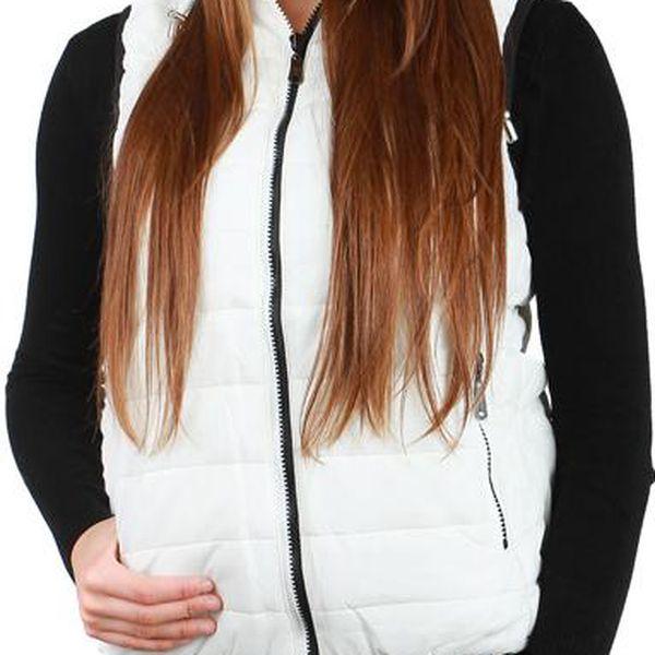 TopMode Unikátní prošívaná vesta s kapucí bílá