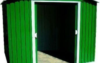 Zahradní domek na nářadí 244x193x210cm plechový, zelený sněhové hrablo ZDARMA