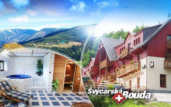 KRKONOŠE, Špindlerův Mlýn, Švýcarská bouda! 3DNY pro 2 osoby s POLOPENZÍ, privátním WELLESS a ŠpindlCard!