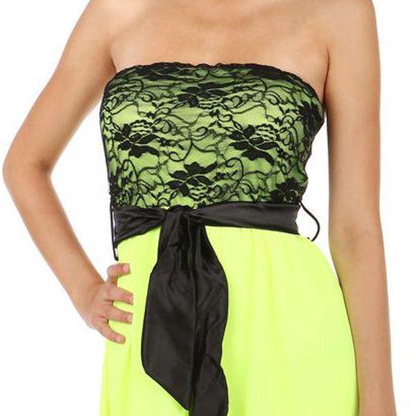 TopMode Krásné šaty s delším zadním dílem neon žlutá