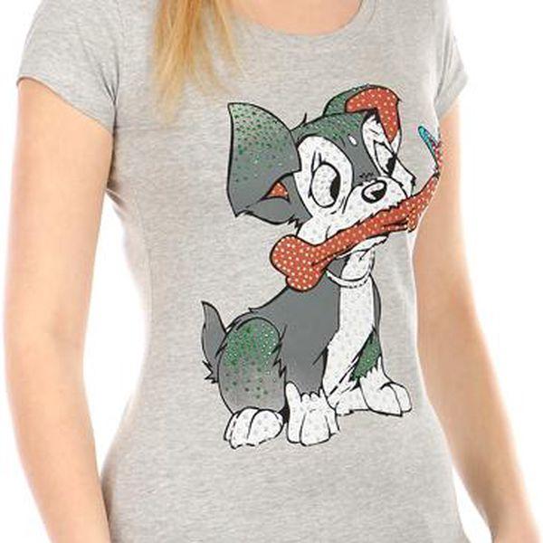 TopMode Příjemné tričko s roztomilým obrázkem šedá