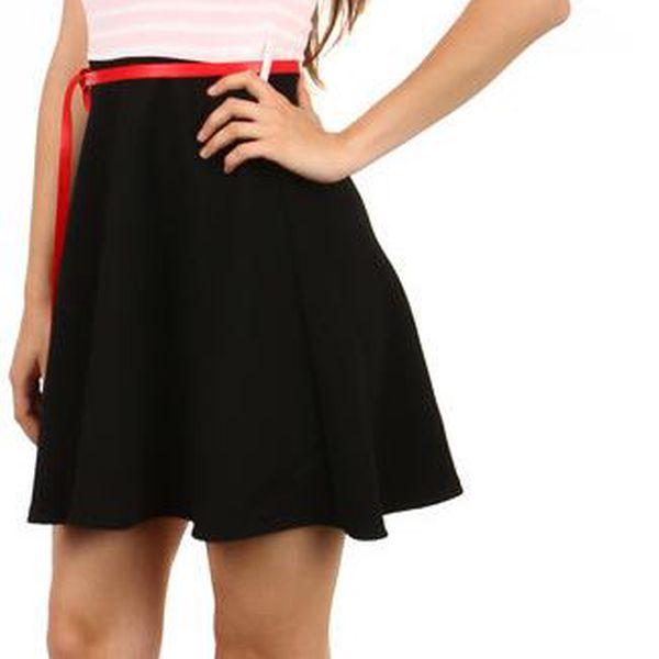TopMode Moderní pruhované šaty v retro stylu světle růžová