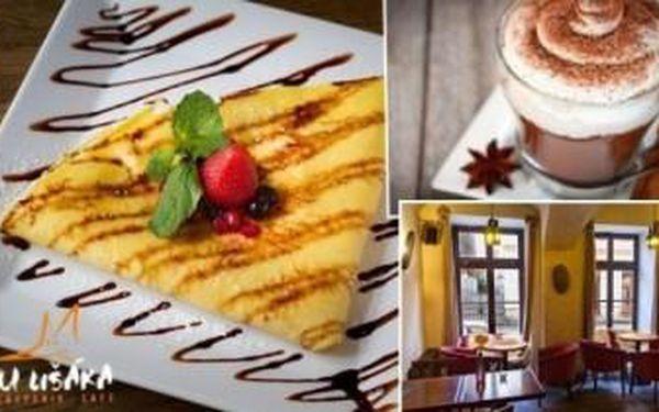 Francouzské palačinky s nuttelou, banánem a oříšky, kávička a víno pro 2 osoby u Lišáka.