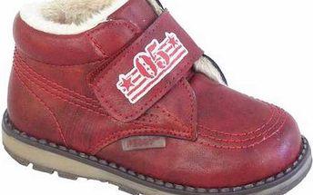 Dětské zimní kotníčkové boty na suchý zip, červené