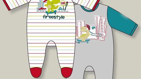 Kojenecké dupačky velur O´MOI Bébé zeleno-modré -6měsíců