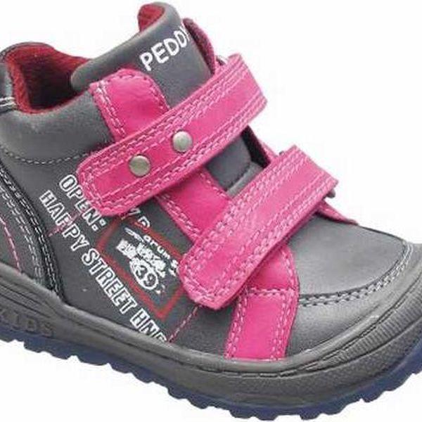 Dívčí zimní kotníčkové boty - růžovo-šedé