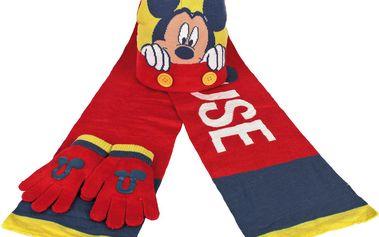 Dětský zimní set Mickey Mouse - rukavice, šála, čepice