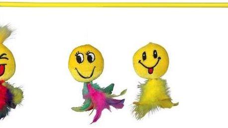 Trixie udice s plyšovou hračkou smajlík s peřím 50 cm