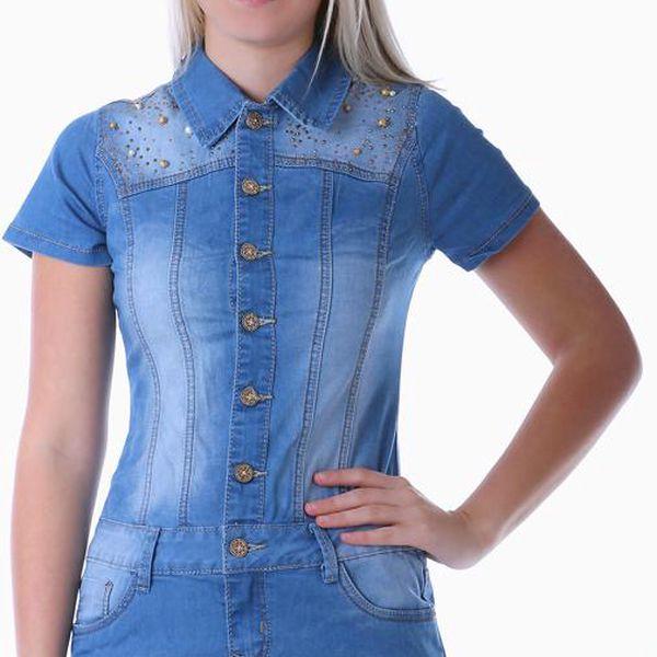 TopMode Extravagantní dámské džínové šaty modrá