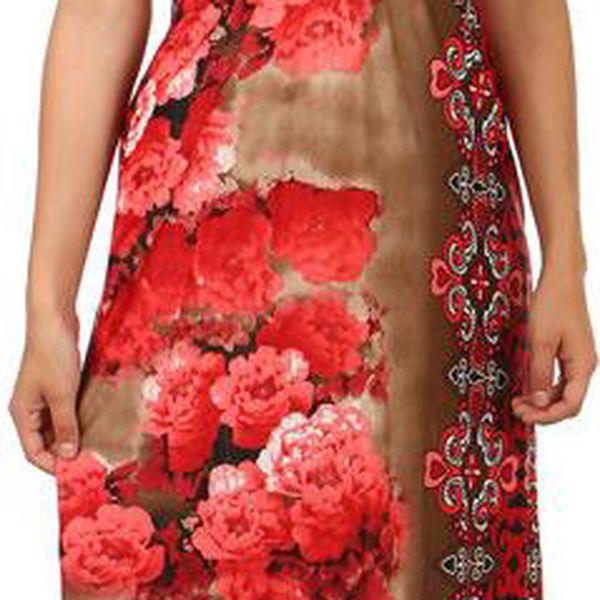 TopMode Dlouhé šaty s květinovým potiskem červená
