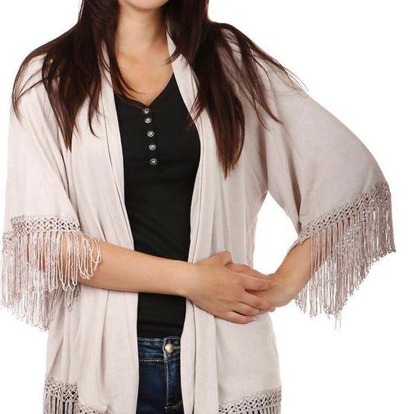 TopMode Volný svetřík bez zapínání s třásněmi béžová