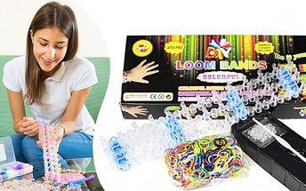 SADA Loom Bands! 600 ks gumiček, tkalcovský stav, háček a svorky pro výrobu jedinečných náramků a doplňků!
