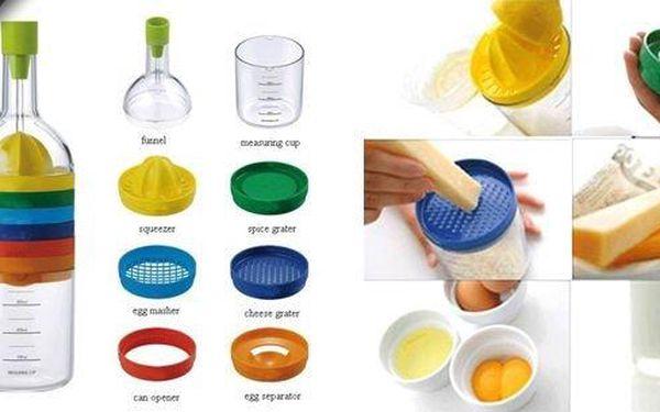 Skutečný pomocník pro každou hospodyňkuBin 8v1!Multifunkční 8dílná sada kuchyňských potřeb!Jednotlivé díly jsou poskládané do tvaru láhve - zaberou tak minimum místa.