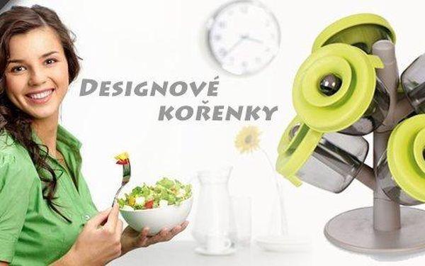 Pořiďte si designový doplněk do kuchyně!6 ks vzduchotěsných moderních kořenek se silikonovým víčkem, které udrží koření déle čerstvé.Navíc v praktickém stojánku!