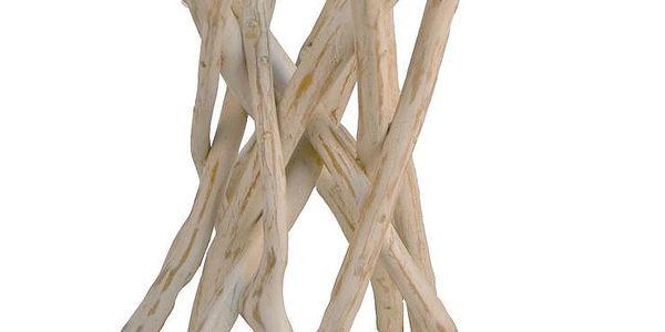 Skleněná odkládací stolek Erosi s dřevěnými nohami