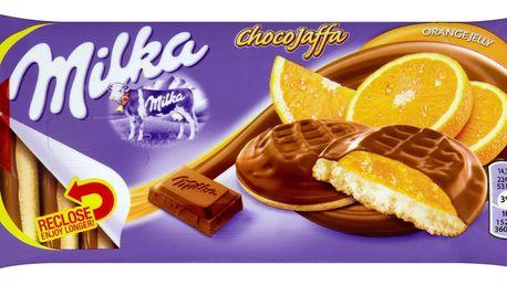 Milka Milka ChocoJaffa piškoty s želé s pomerančovou příchutí polomáčené mléčnou čokoládou 147g