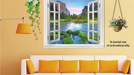 3D samolepka na zeď - Okno s květinami