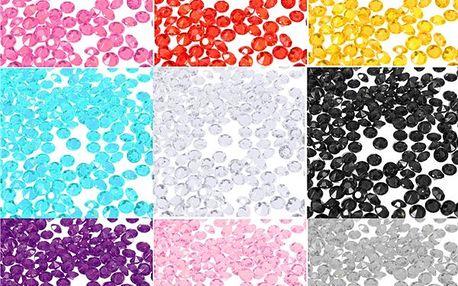 1000 ks dekorativních krystalků - několik barev