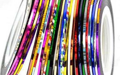 30 barevných pásek na zdobení nehtů