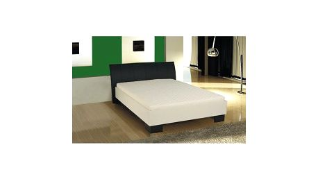 TEMPO KONDELA Talia 160 x 200 manželská postel, ekokůže černá/bílé lamino