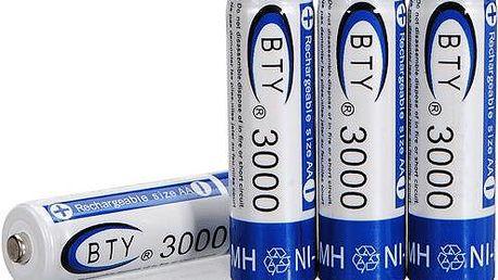 Nabíjecí tužkové AA baterie BTY 3000mAh - 4 kusy