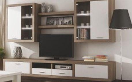 TEMPO KONDELA Cancan New 3 dub sonoma trufel/bílá obývací stěna s LED osvětlením