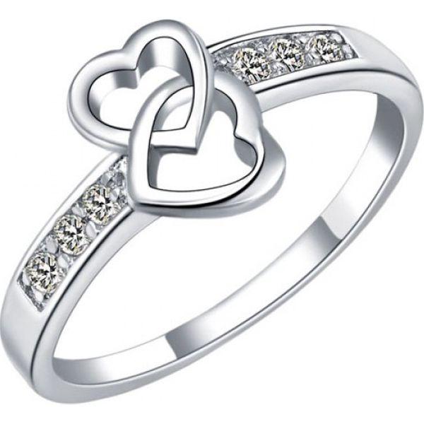 Dámský prsten s dvojitým srdíčkem - třpytivé kamínky
