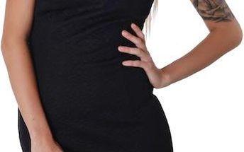 Černé šaty se zdobeným výstřihem