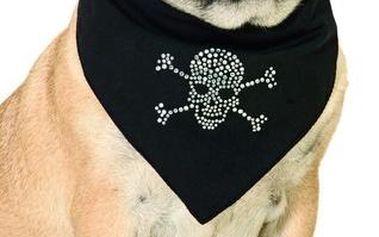 Karlie šátek pro psy černý s lebkou vel. L
