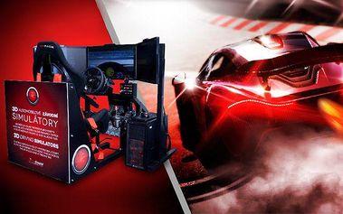 30minutová jízda na 3D automobilovém závodním simulátoru v Praze