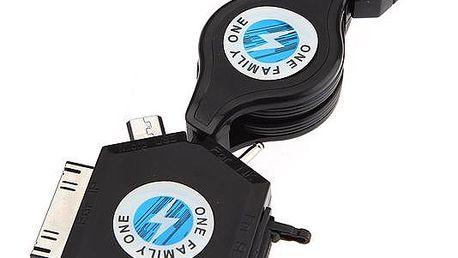 USB 6 v 1 nabíječka se zatahovacím kabelem