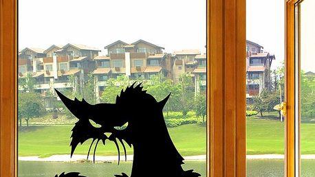Vzteklá kočka - samolepka na okno