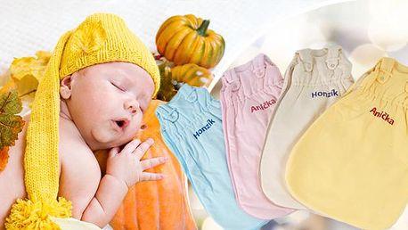 Kojenecké spací pytle se jménem na přání pro Vaše nejmenší! Vyrobené z BIO bavlny, vhodné i pro děti s alergií!