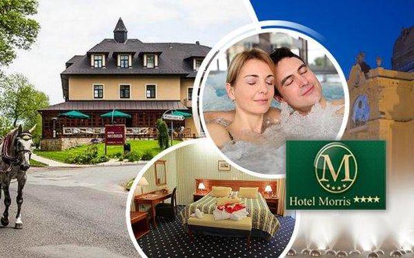 Wellness pobyt pro 2 osoby na 5 dní v luxusním Golf hotelu Morris**** s prestižním oceněním za nejlepší 4* hotel v Karlovarském kraji! Bohatá polopenze a spoustu procedur - oxygenoterapie, parafínový zábal na ruce, vstup do bazénu, vířivka, sauna, procedu