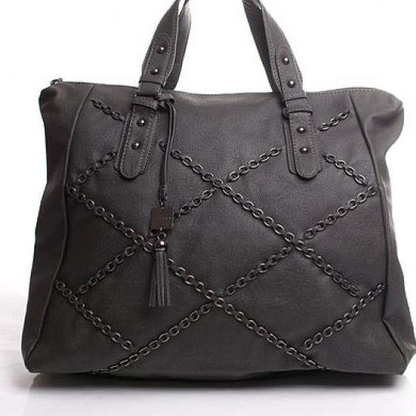 Řetízková kabelka Sisley do ruky, šedá