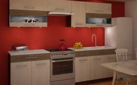 TEMPO KONDELA Jura New IA ZS 2,6 m kuchyňská skříňka, rigoleto light/dark/sklo