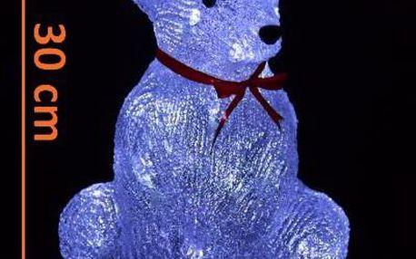 Vánoční dekorace - Sedící medvěd - 30 cm studeně bílá
