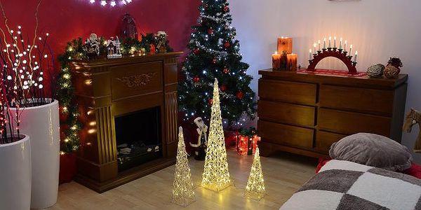 Vánoční dekorace - Akrylový kužel - 90 cm, teple bílé + trafo2