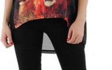 Dámské tričko Just Addict se lvy, černé
