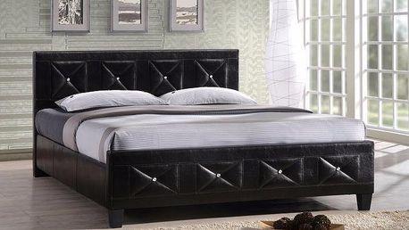 Tempo Kondela | Manželská postel, s roštem, ekokůže černá, 160x200, CARISA