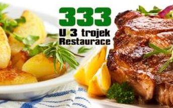 2x 250g STEAK Z KRKOVIČKY včetně PŘÍLOHY a DRESINKU dle výběru v restauraci U 3 trojek na Žižkově!