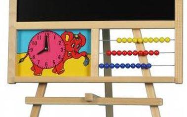 Tabule školní i pro psaní na fólii, s počítadlem a hodinami, dřevo, 88 x 44 cm