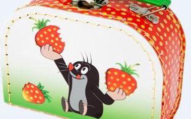 Kufr Krtek a jahody, šitý, 16 x 12 x 8 cm