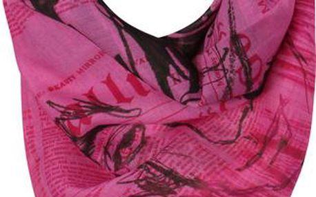 Galliano Dámský šátek, XR5Q0280775_pink mit print S002