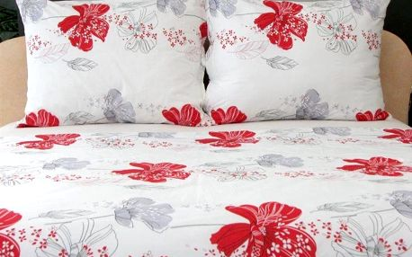 Stanex Povlečení krep 140x200 cm Red Flower vzor 68