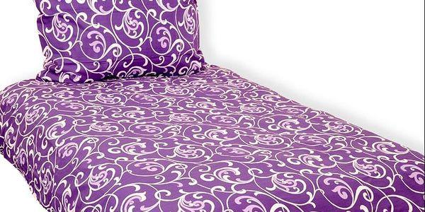 Vesna Povlečení 140x200 cm Ornament fialový bavlna