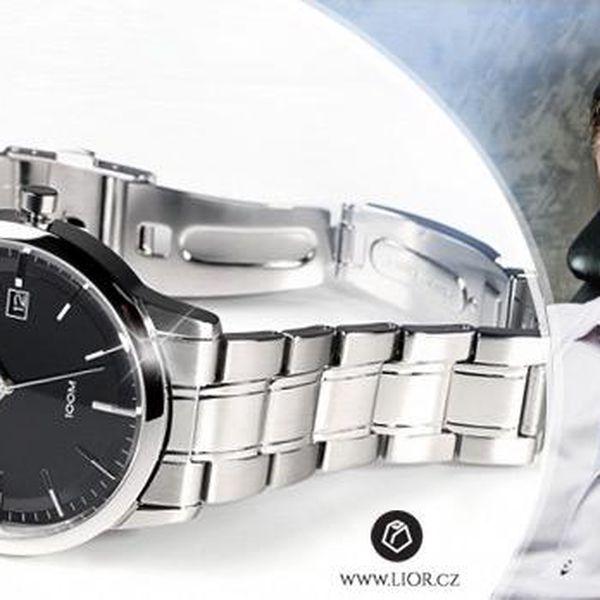 Pánské luxusní hodinky Seiko z nerezové oceli včetně poštovného! Vodotěsnost do 100 m a záruka 2 roky!