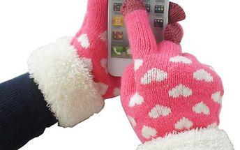Dámské rukavičky s kožíškem pro dotykový telefon